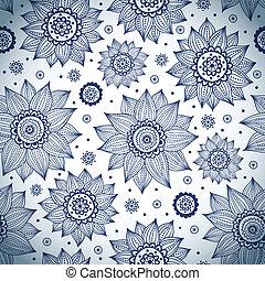azul, girasol, patrón
