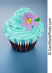 azul, glaseado, cupcake