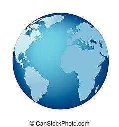 azul, globo, continentes