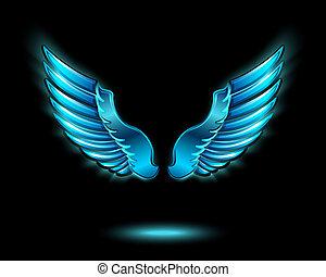 azul, glowing, asas, anjo