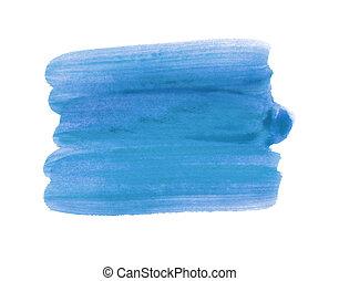 azul, golpes, escova aquarela, fundo, design.