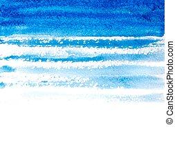 azul, golpes, ilustração, aquarela, experiência., vetorial, escova