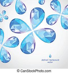 azul, gota, safira, vetorial
