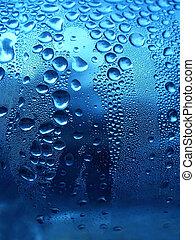 azul, gotas, brillante