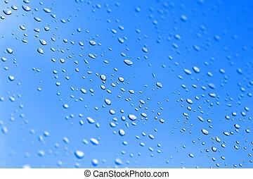 azul, gotas, chuva