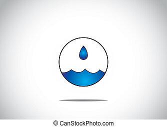 azul, gotita, concepto, arte, obteniendo, -, aislado, preservación, protección del medio ambiente de agua, ilustraciones, recogido, burbuja, o, circular