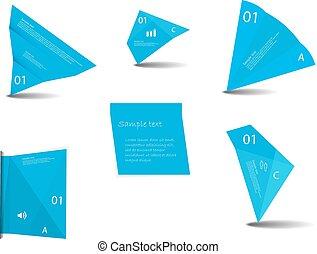 azul, gráfico, color, conjunto, vario, elementos