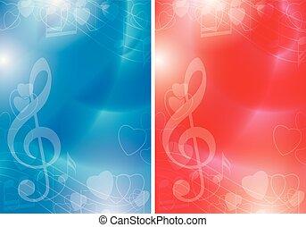 azul, gradiente, fundos, -, vetorial, música, contornos, voadores, corações, vermelho