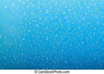 azul, gradiente, gotas, água, fundo
