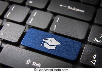 azul, graduación, teclado, llave, educación, plano de fondo