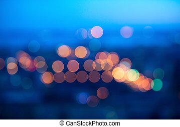 azul, grande, abstratos, obscurecendo, luzes, bokeh, fundo, circular