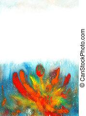 azul, grande, arte, background:, pintura, vindima, abstratos, mão, padrões, papel, backdrop., desenhado, floral, grunge, desenho, vermelho, textura