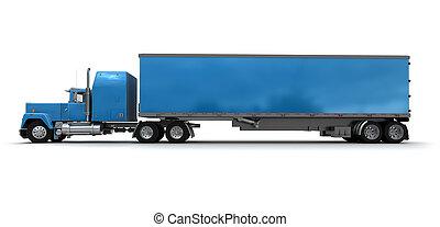 azul, grande, camión, lado, remolque, vista