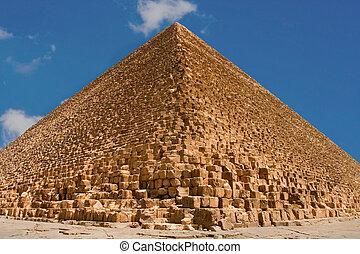 azul, grande, cielo, giza, plano de fondo, pirámides