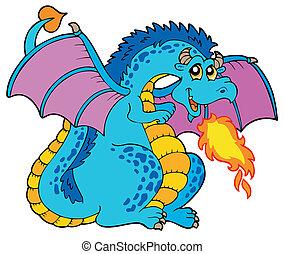 azul, grande, fuego, dragón
