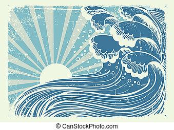 azul, grande, imagen, sea.vectorgrunge, tormenta, ondas, sol, día