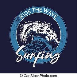 azul, grande, oceânicos, tsunami, mar, onda