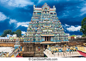 azul, grande, ranganathaswamy, sky., architecture., encima,...