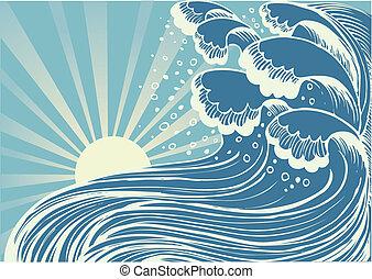 azul, grande, sea.vector, ondas, tormenta, sol, día