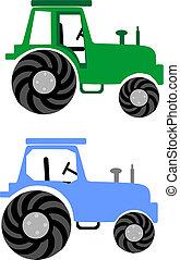 azul, granja, 2, verde, tractors: