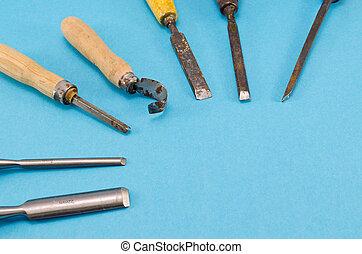 azul,  graver, cincel, Colección, esculpir, herramientas