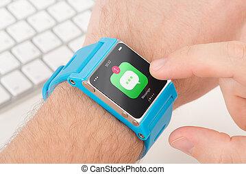 azul, grifos, reloj, mensajero, dedo, elegante, icono