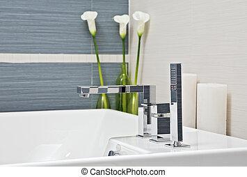 azul, gris, cuarto de baño, moderno, parte, tonos