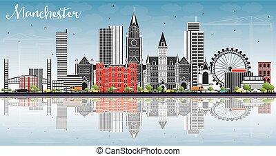 azul, gris, edificios, cielo, contorno, manchester, ...