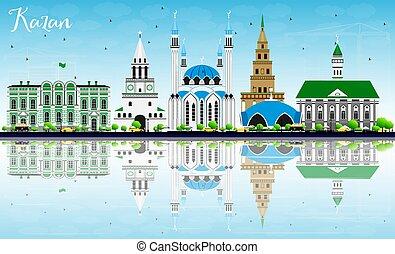 azul, gris, kazan, edificios, cielo, contorno, reflections.