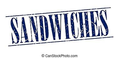 azul, grunge, estampilla, vendimia, aislado, sándwiches, plano de fondo, blanco