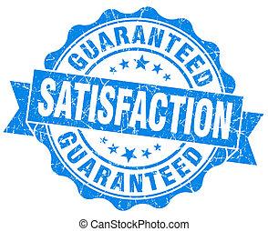 azul, grunge, guaranteed, aislado, satisfacción, sello, ...
