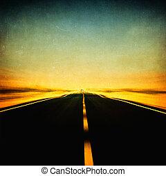 azul, grunge, imagen, cielo, mancha de movimiento, carretera