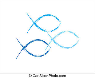 azul, grunge, pez, cristiano, símbolos