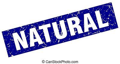 azul, grunge, quadrado, natural, selo