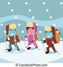 azul, grupo, ártico, nieve, entretela, tormenta, exploler
