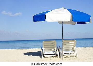 azul, guarda-chuva branco