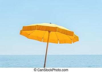 azul, guarda-chuva, céu, mar amarelo, sob