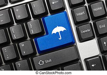 azul, guarda-chuva, símbolo, -, tecla, teclado, conceitual
