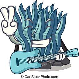 azul, guitarra, agua, alga, mar, debajo, caricatura