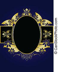 azul, habitación, oro, texto, real, diseño, plano de fondo, floral, negro