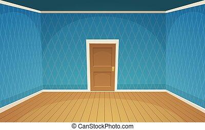 azul, habitación, vacío, /