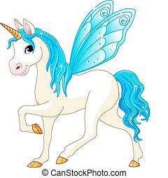 azul, hada, cola, caballo