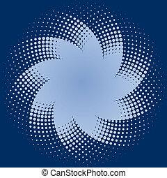 azul, halftone, puntos, estrella