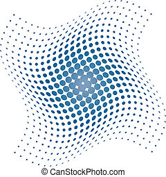 azul, halftone, puntos, plano de fondo