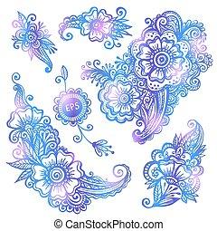 azul, hand-drawn, vector, flores, conjunto