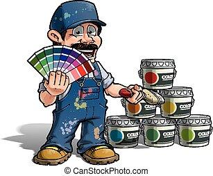 azul, handyman, cor, -, uniforme, colheita, pintor