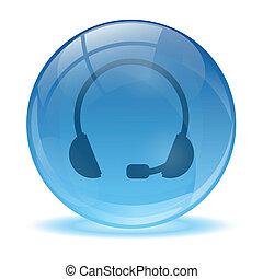 azul, headset, abstratos, 3d, ícone