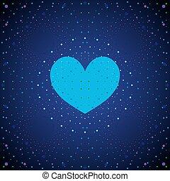 azul, heart., espacio