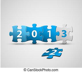 azul, hecho, artículos del rompecabezas, tarjeta, año, nuevo...
