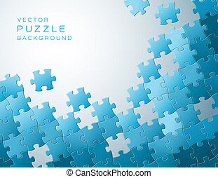 azul, hecho, artículos del rompecabezas, vector, plano de ...
